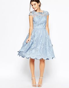 Image 1 of Chi Chi London Premium Lace Midi Prom Dress with Bardot Neck
