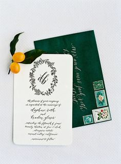 Botanical illustration by Kelly Anne Moore.  Invitation and calligraphy by @Kathy Chan Chan Davis-Reid Miss Press.  Photo by Jose Villa.