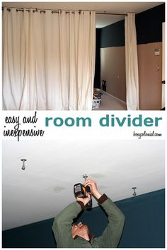 """Make this Room Divider from Ikea Curtain Panels and a Ceiling Mount Curtain Rod - put across """"bar area"""" in basement once day bed is there for makeshift guestroom Portable Room Dividers, Hanging Room Dividers, Sliding Room Dividers, Fabric Room Dividers, Bamboo Room Divider, Room Divider Walls, Diy Room Divider, Ceiling Mount Curtain Rods, Room Divider Curtain"""