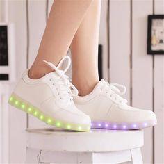 new product 72b05 ea39c 19.47 43% de DESCUENTO Zapatos led informales de mujer para adultos 2018  zapatillas de cuero pu coloridas calientes zapatos de mujer zapatos  luminosos led ...