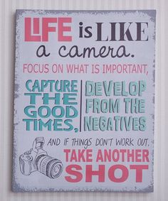 Look at this #zulilyfind! Pink & Gray 'Life Is Like a Camera' Wrapped Canvas #zulilyfinds