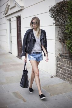 Denim cutoffs and some leather...perfect combo