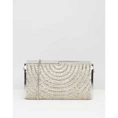 Dune Beaded Art Deco Style Clutch featuring polyvore women's fashion bags handbags clutches silver white clutches beaded purse dune handbags embellished handbags art deco handbags