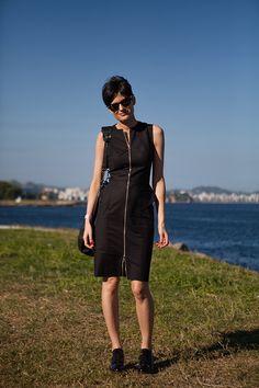 Street style Fashion Rio Verão 2014 - all black - ziper