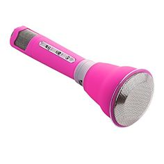 VERKB Universal Bluetooth Wireless Speaker, Portable Karaoke Player KTV, With Microphone Handheld Cellphone Mic, Compatible for Apple Iphone Android Smartphone Pc(Quite Pink)