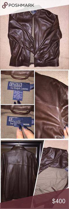 Polo by Ralph Lauren Authentic Leather Jacket 100% brown leather jacket kept in pristine condition. Super soft and pliable. Lining is a light brown houndstooth design and has a pocket inside. Zippers work, buttons secure, no rips in lining nor pockets. Only flaw is a light scratch on back right shoulder as shown in the collage. Similar style is selling for $895 before tax from Macy's. This jacket needs a new loving home as it is too large for my boyfriend now  open to negotiation, just make…
