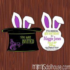 Magic Party Invitation-Magician Birthday Invitation PDF/JPEG. $11.99, via Etsy.