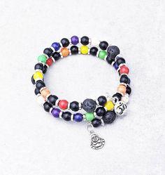 7 Chakra Wrap Bracelet Double Wrap Beaded Bracelet Memory | Etsy Wire Wrapped Bracelet, Beaded Wrap Bracelets, Gemstone Bracelets, Silver Bracelets, Bracelets For Men, Aromatherapy Jewelry, Auras, Birthstone Charms, Oil Diffuser