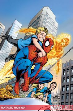This is the cover to Fantastic Four #574, drawn by Alan Davis. This is a great cover, from a composition point of view of course, but also for the fact that everyone is so happy. You don't see enough comic book covers with happy characters on them...