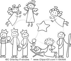 Clipart Black And White Stick Drawings Of Nativity Scene People - Royalty Free Vector Illustration by C Charley-Franzwa Christmas Nativity, Christmas Art, Christmas Projects, Simple Christmas, Christmas Clipart, Christmas Lights, Christmas Doodles, Christmas Drawing, Nativity Clipart
