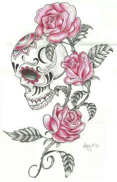 sugar skull rose and butterfly tattoo - Bing images Pretty Skull Tattoos, Feminine Skull Tattoos, Skull Thigh Tattoos, Sugar Skull Tattoos, Sugar Skull Art, Leg Tattoos, Flower Tattoos, Beautiful Tattoos, Body Art Tattoos