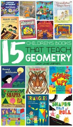 This collection of children's math books that teach geometry and allow the opportunity for children to learn more about and shapes, symmetry, patterns, and more! ~Lucky Little Learners Geometry Book, Teaching Geometry, 2d And 3d Shapes, Solid Shapes, Geometric Shapes, Shape Books, Books About Shapes, 3d Figures, Math Books