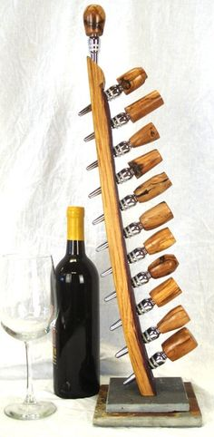 Wine Bottle Stopper Holder Made from by winecountrycraftsman, $50.00
