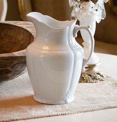 Lg Antique English Ironstone Pitcher Meakin by edithandevelyn, $95.00