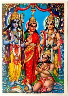"""India 1960s Hindu God poster Shri Ram Darbar 9.5""""x13.5"""" by S S Brijbasi picclick.com"""