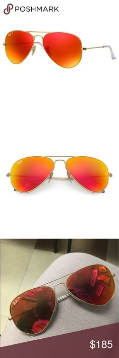 AUTHENTIC RED GOLD ORANGE RAY-BAN AVIATORS  Sunglasses bought for 200, worn a couple of times, still in good condition, red and orange with gold around. So nice for summer especially (ALL OFFERS ARE CONSIDERED!!) Ray-Ban Accessories Sunglasses