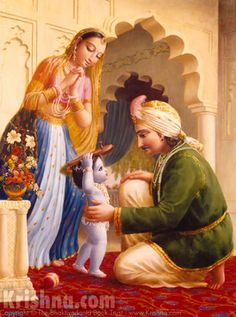Ch:11. Krishna Carries His Father's Wooden Shoes. Sometimes His father, while worshiping Narayana, would ask Him to bring his wooden slippers, and Krishna, with great difficulty, would put the slippers on His head and bring them to His father. When He was asked to lift some heavy article and was unable to lift it, He would simply move His arms. In this way, daily, at every moment, He was the reservoir of all pleasure for His parents.