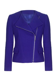 Louben Cashmere Moto Jacket in Royal Blue from Long Tall Sally