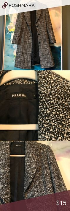 Prague • Tweed-like Long Pea Coat In great condition.  Warm and chic coat with wide collar. Prague Jackets & Coats Pea Coats