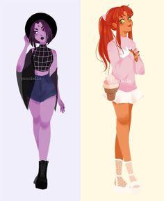 Raven and Starfire from Teen Titans as regular high school girls! Teen Titans Fanart, Teen Titans Go, Teen Titans Outfits, Teen Titans Raven, Marvel Dc, Punziella, Starfire And Raven, Starfire Comics, Powerpuff Girls