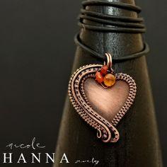 Copper Wire Wrap Heart Pendant, Carnelian & Hessonite & Fire Opal