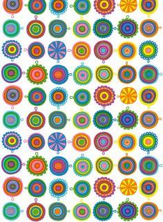 Lappuliisa-kangas (valko,sini,kelta,vihreä,lila)  Kankaat, Puuvillakankaat   Marimekko