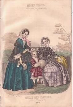 1854 French Fashion Print 2 Ladies Garden Bonnets Boy w Ball Hand Colored | eBay