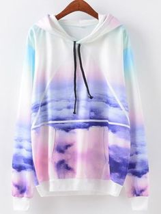 Cutiefox Womens Cloud Sky Print Pullover Hoodie Sweatshirt Multicolor S Hoodie Sweatshirts, Pullover Hoodie, Sweater Hoodie, Sweatshirts Online, Teen Fashion Outfits, Girl Outfits, Casual Outfits, Ladies Fashion, Winter Outfits