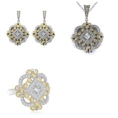 14K Yellow Gold Vintage Antique Cubic Zirconia Earrings, Pendant and Ring