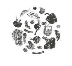 Linoprint | Vegetables | Caroline Young Illustration