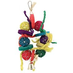 Vine Ball Rainbow Ring Chewable Foraging Parrot Toy