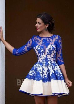 Appliques A-line Ruched Lace Short Length Half Sleeves Blue Bateau Zipper Homecoming / Cocktail Dresses
