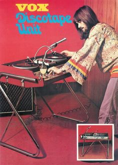 Two Turntables and a Microphone 1971Early Portable DJ Console |Vox Discotape Unit - Via