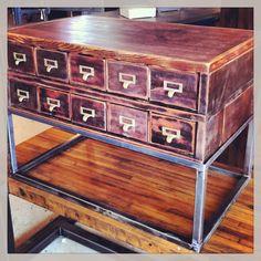 Vintage Card Catalog Drawers. Great End Tables, Storage, or Our Favorite....Wine Holder.