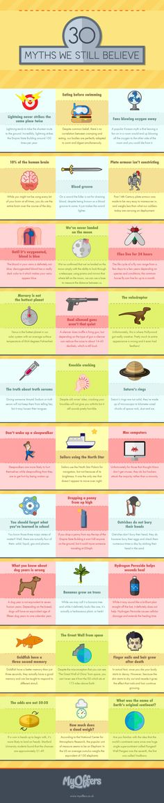 Thirty Myths we still Believe Infographic #Infographics