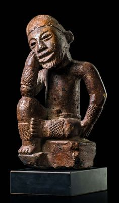 """Africa   Figure """"ntadi"""" from the Bakongo people of DR Congo   Stone   Such figures were placed on the graves of notables. The varying postures express different emotions."""