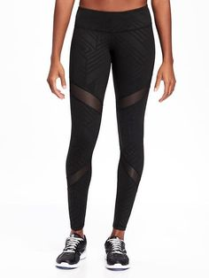 Go-Dry Cool Mid-Rise Lattice-Work Yoga Tights for Women | Old Navy