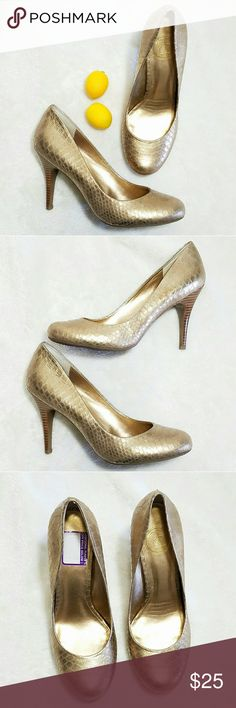 "Jessica Simpson Snakeskin Gold Metallic Heels -Excellent used condition- small staining on soles and leftover sticker on insole (pic 4) -Heel 4"" -Faux snakeskin -Soles are in excellent shape -Size 9B -Muted gold metallic (colors' appearance may vary on screen)  Questions? Just ask! Bundle to save!  Offers welcome  Happy Poshing! Jessica Simpson Shoes Heels"