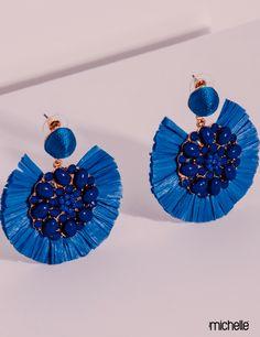 Aretes azules en forma de abanico con Incrustaciones de Piedra Diy Tassel Earrings, Tassel Jewelry, Soutache Jewelry, Seed Bead Jewelry, Fabric Jewelry, Earrings Handmade, Beaded Jewelry, Jewellery, Jewelry For Her
