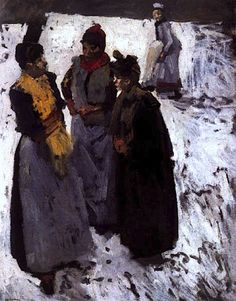 Three Women Talking in the Snow - George Hendrik Breitner (Dutch 1857-1923)