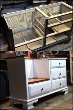 New refurbished furniture diy dresser bedrooms ideas Dresser Bench, Dresser Furniture, Refurbished Furniture, Furniture Makeover, Home Furniture, Furniture Storage, Dresser Makeovers, Luxury Furniture, Furniture Refinishing