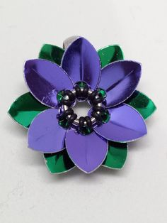Purple Scalemaille Flower Chainmaille Pendant
