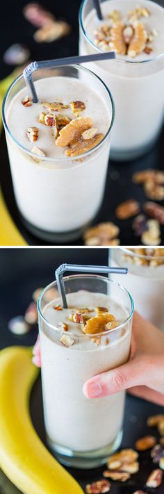 A recipe for a healthy vegan Banana Nut Crunch Smoothie with lots of protein, plus a chance to win a BlendTec Designer 725 Blender and Twister Jar! Protein Smoothie Recipes, Easy Smoothies, Juice Smoothie, Smoothie Drinks, Yummy Drinks, Healthy Drinks, Healthy Snacks, Fun Drinks, Healthy Eating