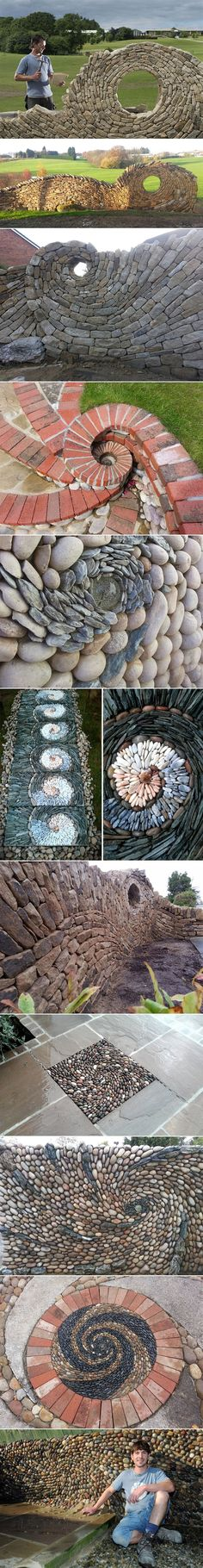 I don't know when I will ever have enough rocks to make a wall, but it would certainly be doable to do a spiral in he space between pavers as in one of the pictures. I could use rocks from the landscaping around the house.