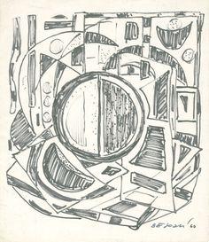 E. Besozzi pitt. 1960 Composizione pennarello su carta cm. 23,6x22 arc. 659