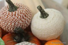 Kid-friendly no carve pumpkin decorating idea: Baker's Twine (or yarn) Pumpkins [craftsunleashed]