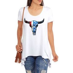 Glamour & Co Women's Americana Graphic Tunic-Length T-Shirt, Size: Medium, White