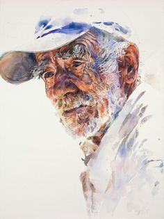 watercolor of an old man