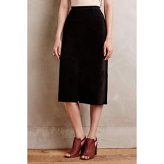 Alexa Chung for AG Ortiz Suede Midi Skirt ($898) ❤ liked on Polyvore featuring skirts, black, black knee length skirt, mid-calf skirt, black midi skirt, ag adriano goldschmied and calf length skirts