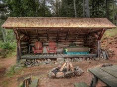Rustic Landscape/Yard with Fire pit, Deluxe adirondack chair, plywood, Wrap around porch